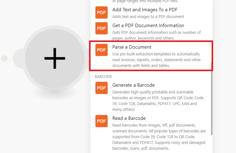 Select Parse A Document Module