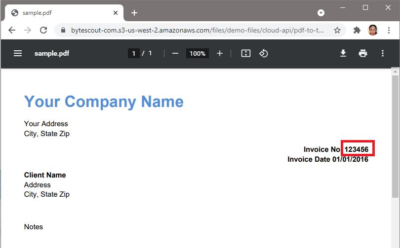 Delete Invoice Number In Sample PDF