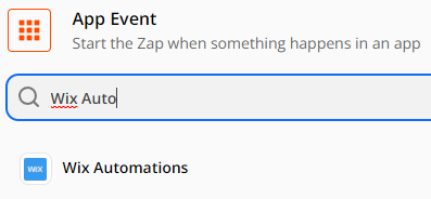 Setup Trigger, select Wix Automations as the App Event