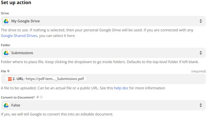 Setup Google Drive Action