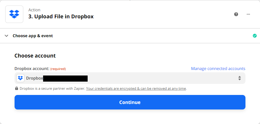 Connect Dropbox Account