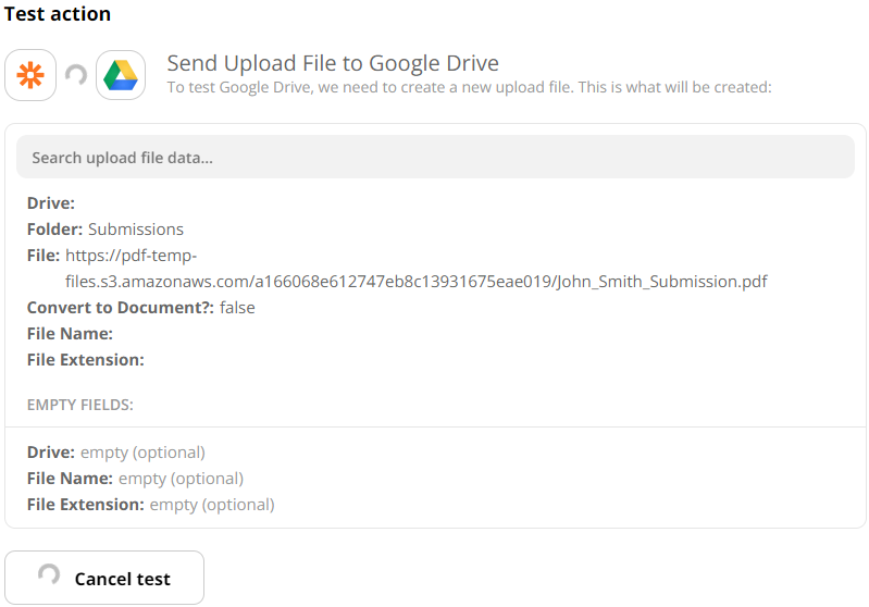 Test Google Drive Action