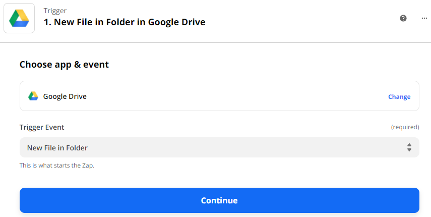 Choose New File in Folder as the Trigger Event