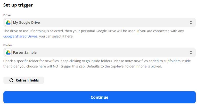 Select Drive and Folder