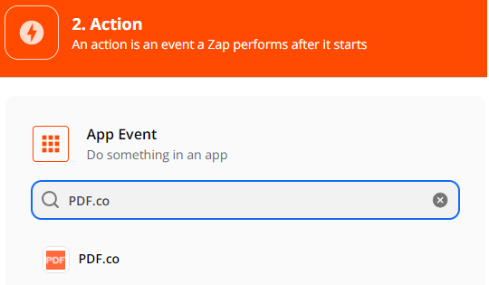 Setup Action, select PDF.co as App Event