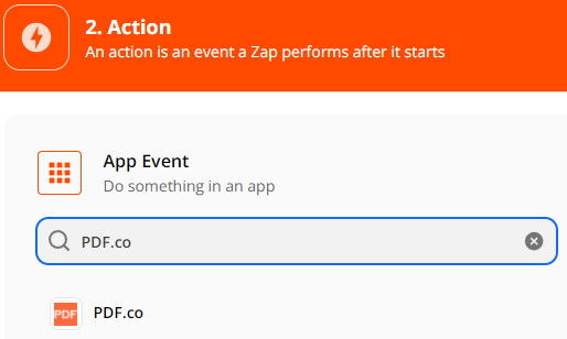 Setup Action, select PDF.co as the App Event