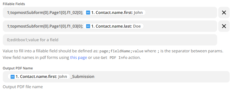Fillable fields and output PDF name