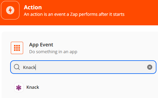 Add another Action, select Knack as App Event