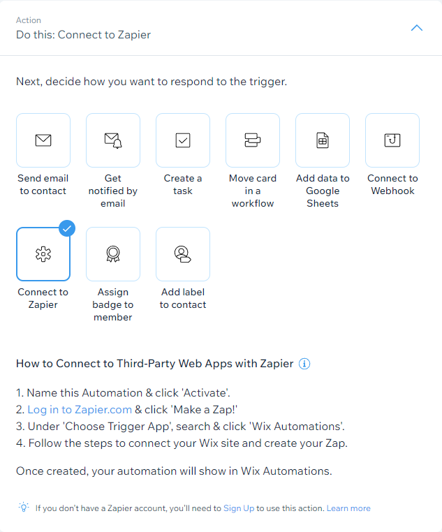Screenshot of Wix Automation Action