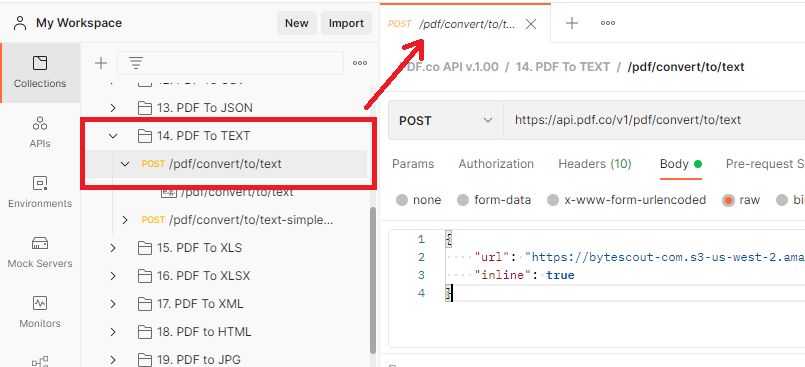 Open PDF To Text Folder Under Postman Collection