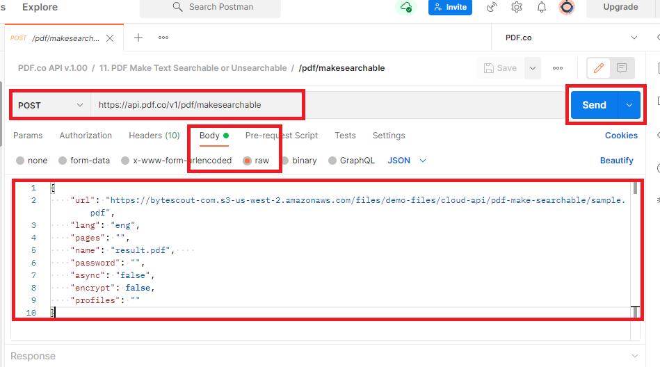 Configure PDF Make Searchable API