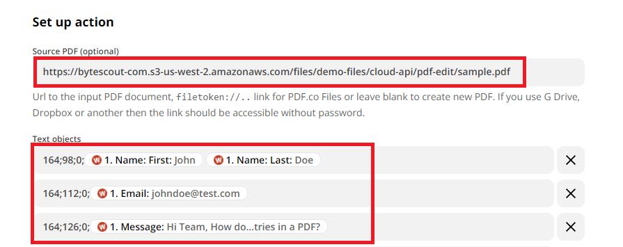 Configure PDF.co PDF Filler