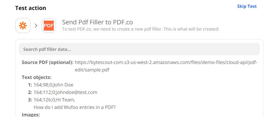 Test The PDF.co PDF Filler Action Event