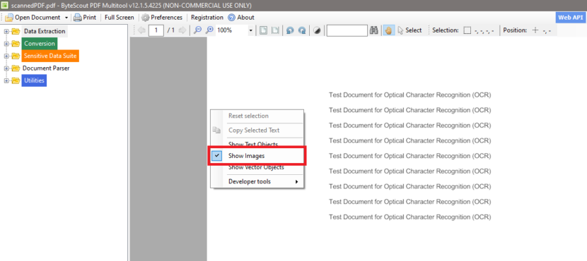 Sample Scanned PDF Checked For Object Content In PDF Multitool